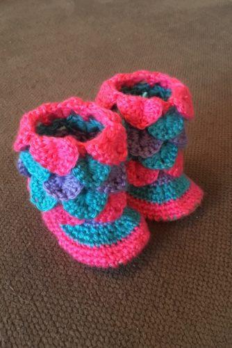 Handmade Crochet Ruffle Baby Booties Size 3-6 months