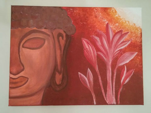 Sunset Buddha Painting