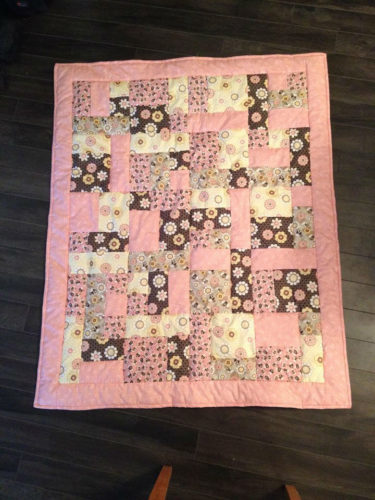 New Hand Quilted Patchwork Baby Quilt – Pink