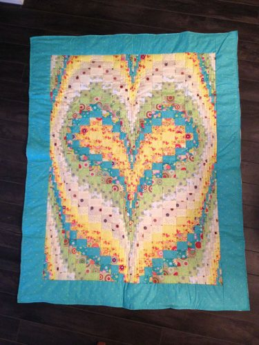 NEW Hand-Quilted Heart Baby Quilt (Aqua)