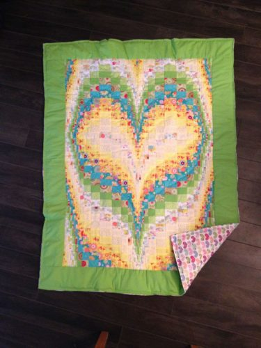 New Hand-Quilted Heart Baby Quilt (Blanket)