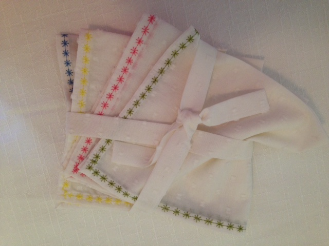 Cream & textured handkerchiefs - packaged 4 set
