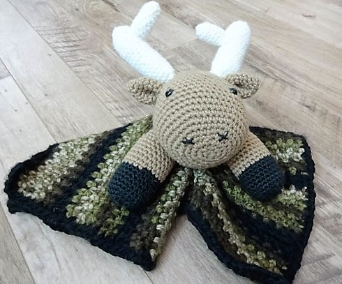 Deer Themed Lovey / Blankie with Camoflague Style Blanket