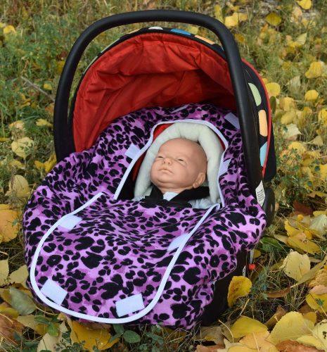Peek-a-Boo Infant Car Seat Cover – Purple Leopard