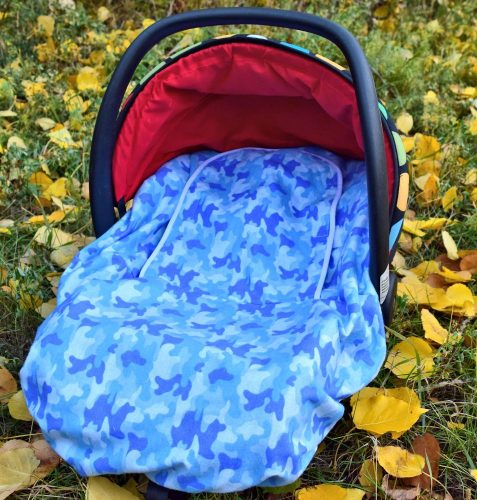 Peek-a-Boo Infant Car Seat Cover – Blue Camo