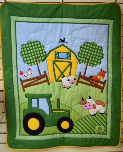 John Deere Tractor Crib Quilt Blanket - Image 1