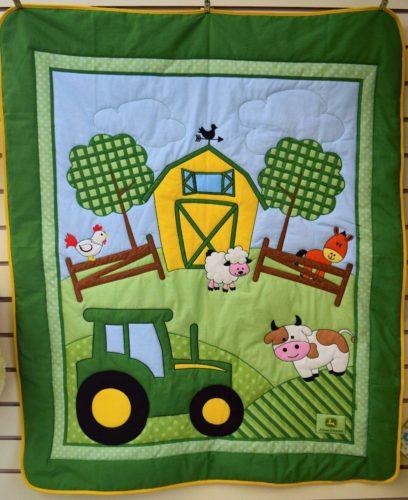 John Deere Tractor Crib Quilt Blanket