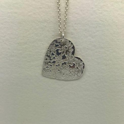 Fine Silver Flower Heart Pendant - Image 1