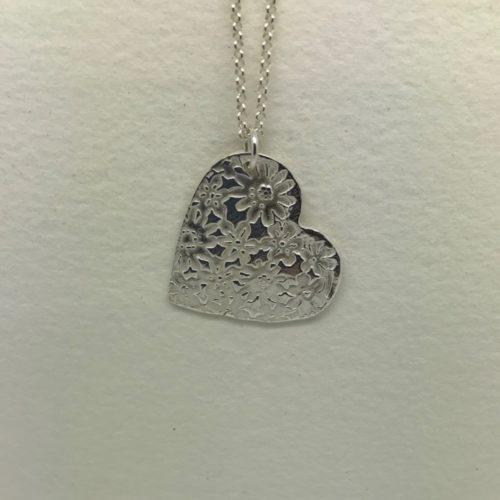 Fine Silver Flower Heart Pendant