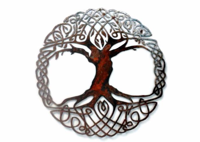 Celtic Tree Of Life Metal Wall Art Living Room Decor Recycled Metal Celtic Art Celtic Knot Metal Wall Hanging Active - Image 2