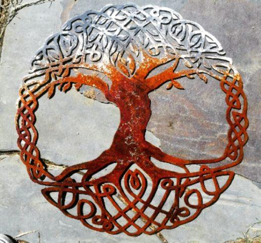 Celtic Tree Of Life Metal Wall Art Living Room Decor Recycled Metal Celtic Art Celtic Knot Metal Wall Hanging Active - Image 1