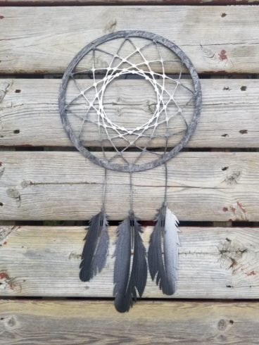 Dream Catcher Wall Hanging Boho Decor Feather Metal Wall Art - Image 1
