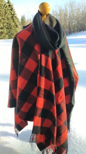 Blanket Shawl with Black Alpaca Scarf in ROB ROY Tartan