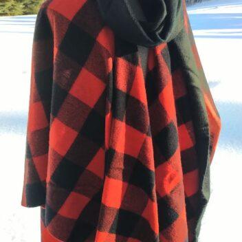 Blanket Shawl with Black Alpaca Scarf in ROB ROY Tartan