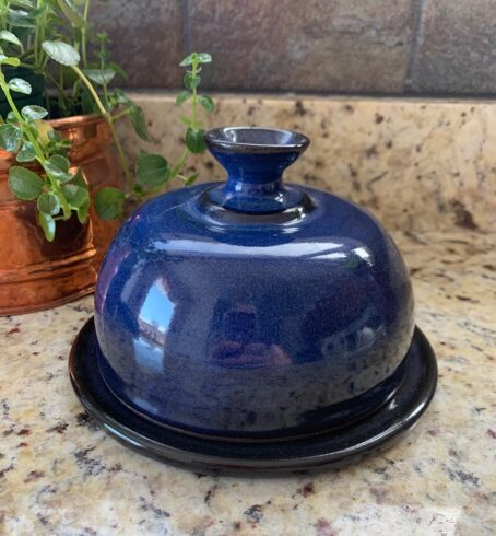 Blue pottery butter dish