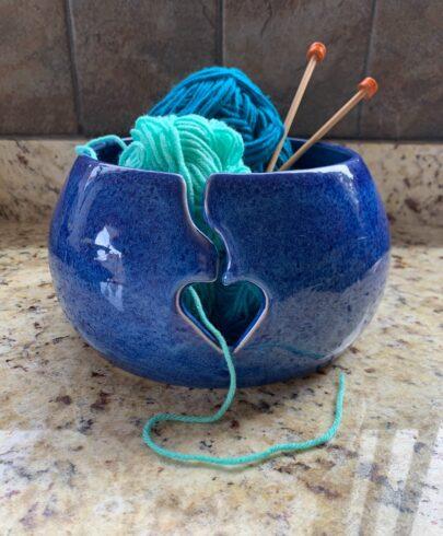Blue Pottery Yarn Bowl