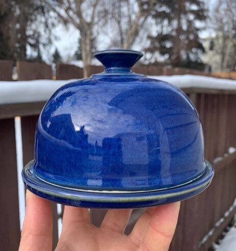 Pottery blue butter dish