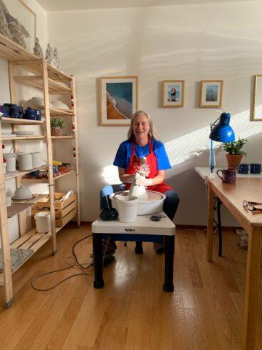 Birgit in her Edmonton pottery studio