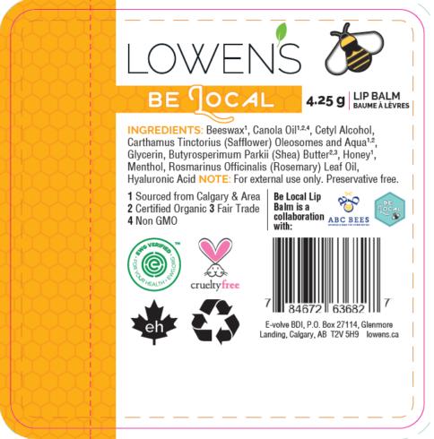 Lowen's Be Local Lip Balm Label Close-up